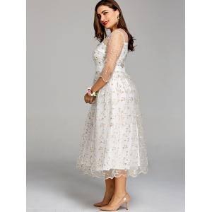 Plus Size Embroidery Floral Tulle Tea Length Dress -