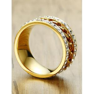 Simple Rhinestone Rotatable Chain Finger Ring -