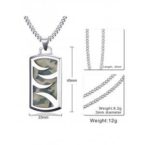 Camouflage Pattern Geometric Pendant Necklace -