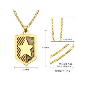 Camouflage Print Star Shield Pendant Collarbone Necklace -