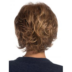 Short Side Bang Colormix Layered Slightly Curly Synthetic Wig -