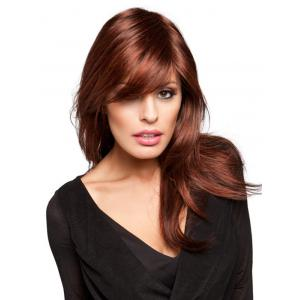 Long Inclined Fringe Straight Party Synthetic Wig -