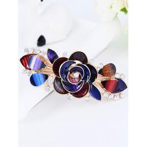 Unique Floral Rhinestone Inlaid Barrette -