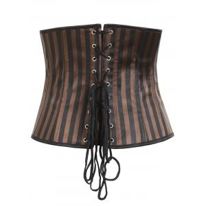 Vertical Stripe Leather Pocket Underbust Corset -