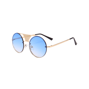 Unique Hollow Out Metal Bar Round Sunglasses -