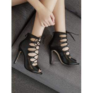 Hollow Out Peep Toe Gladiator Sandals -