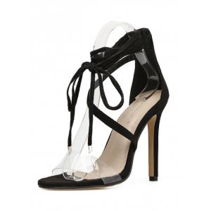 Clear Strap High Heel Lace Up Sandal -