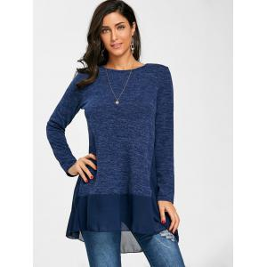Chiffon Trimmed Heather Long Sleeve Top -