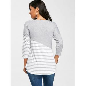 Stripe Patchwork Dropped Shoulder Tee -