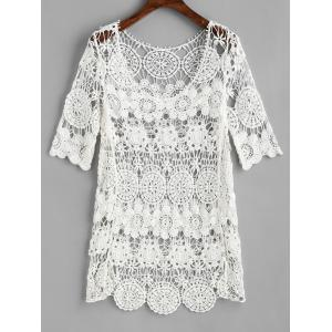 Crochet Long Sleeves Cover Up Top -
