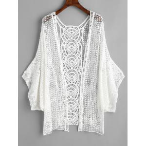 Batwing Sleeve Crochet Beach Cover Up -