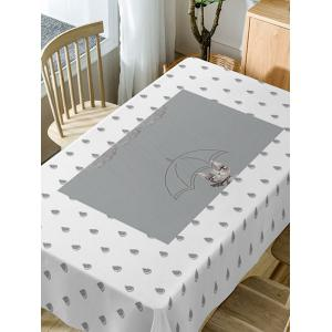 Raindrop Print Fabric Waterproof Dining Table Cloth -