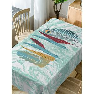 Feather and Marble Print Waterproof Dining Table Cloth -
