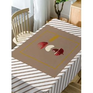 Litchi and Stripe Print Waterproof Dining Table Cloth -