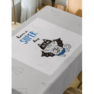 A Flying Cat Letter Print Fabric Table Cloth -