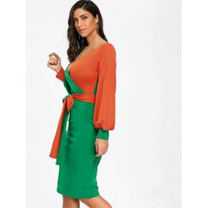 Surplice Neck Color Block Belted Bodycon Dress -