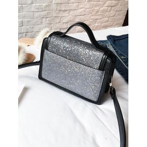 PU Leather Shimmer Crossbody Bag with Handle -
