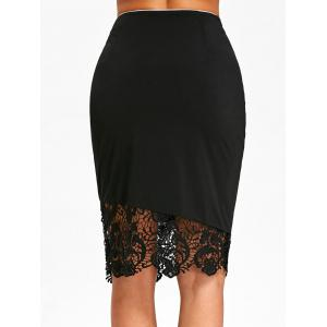 Lace Trim High Waist Sheath Skirt -