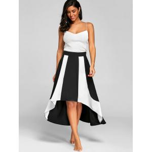 High Low Color Block A Line Skirt -