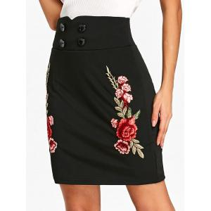 Flower Applique High Waist Skirt -