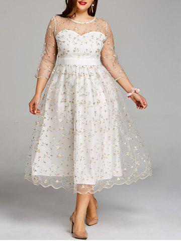Store Plus Size Embroidery Floral Tulle Tea Length Dress