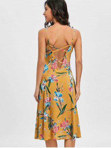 Trendy Cami Strap Backless Floral Printed Dress