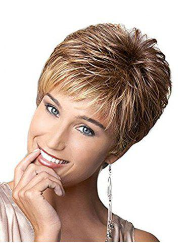 New Short Side Bang Colormix Layered Straight Synthetic Wig