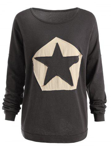 Unique Plus Size Star Patchwork Long Sleeve T-shirt
