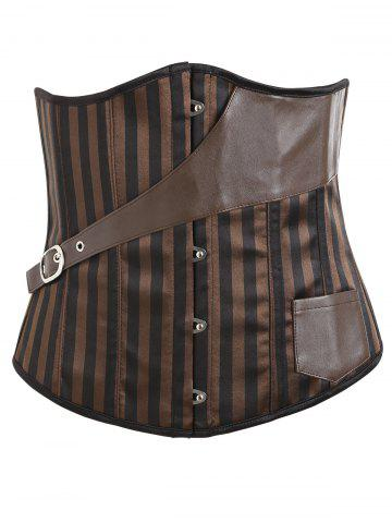 Sale Vertical Stripe Leather Pocket Underbust Corset