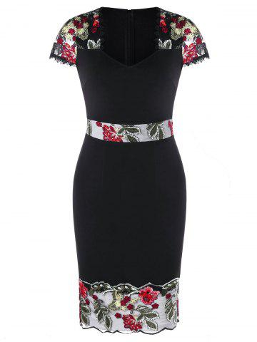 Cheap V Neck Embroidered Sheath Dress