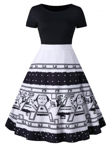 Cartoon Figure Print Short Sleeve Flare Dress