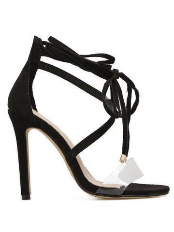 Fancy Clear Strap High Heel Lace Up Sandal