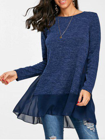 Outfits Chiffon Trimmed Heather Long Sleeve Top