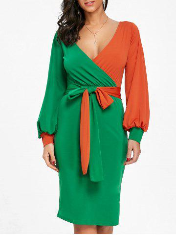Shops Surplice Neck Color Block Belted Bodycon Dress