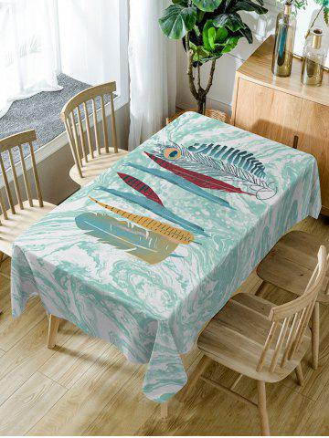 Fancy Feather and Marble Print Waterproof Dining Table Cloth