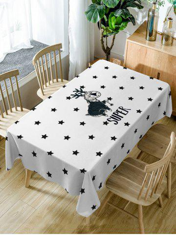 Online Deer and Stars Print Waterproof Dining Table Cloth