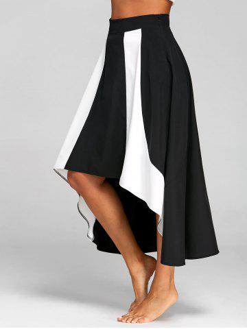 High Low Color Block A Line Skirt