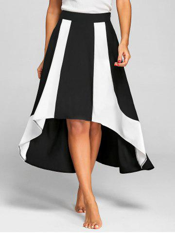 Trendy High Low Color Block A Line Skirt