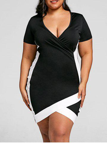 Discount Overlap Plus Size Bodycon Dress