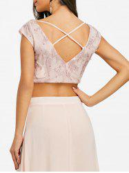 Beading Cut Out Sparkle Crop Top -