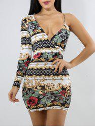 Plunge Bodycon Printed Dress -