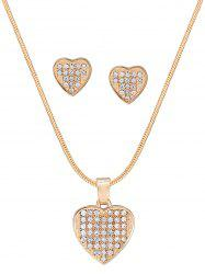 Diamante Heart Pattern Pendant Necklace and Earrings Set -