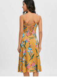 Cami Strap Backless Floral Printed Dress -