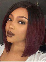 Short Side Parting Straight Bob Ombre Synthetic Wig -
