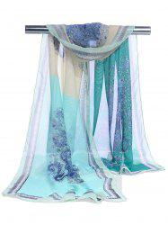 Floral Pattern Soft Chiffon Spring Autumn Scarf -