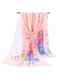 Floral Pattern Printed Soft Chiffon Scarf -