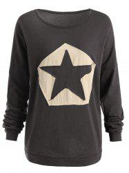 Plus Size Star Patchwork Long Sleeve T-shirt -