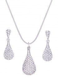 Rhinestone Inlay Water Drop Alloy Pendant Necklace Earrings Set -