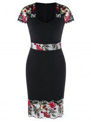 V Neck Embroidered Sheath Dress -