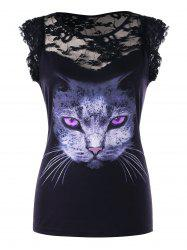 Lace Panel Cat 3D Print Tee -
